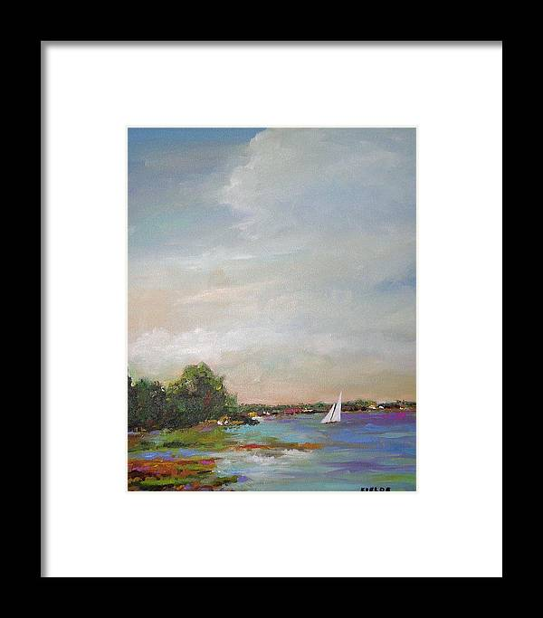 Lake Framed Print featuring the painting Sailboat Painting Meet You There by Karen Fields