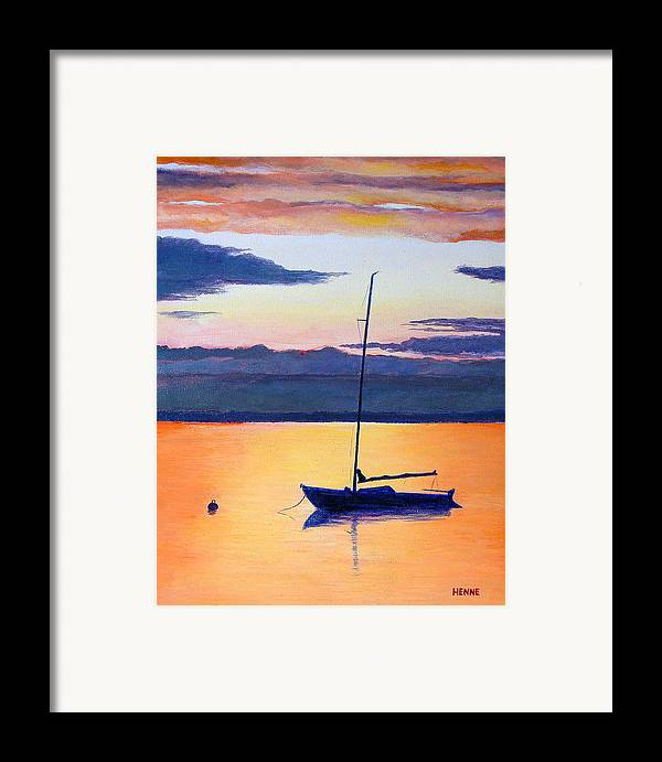 Sail Boat Framed Print featuring the painting Sailboat Sunset by Robert Henne