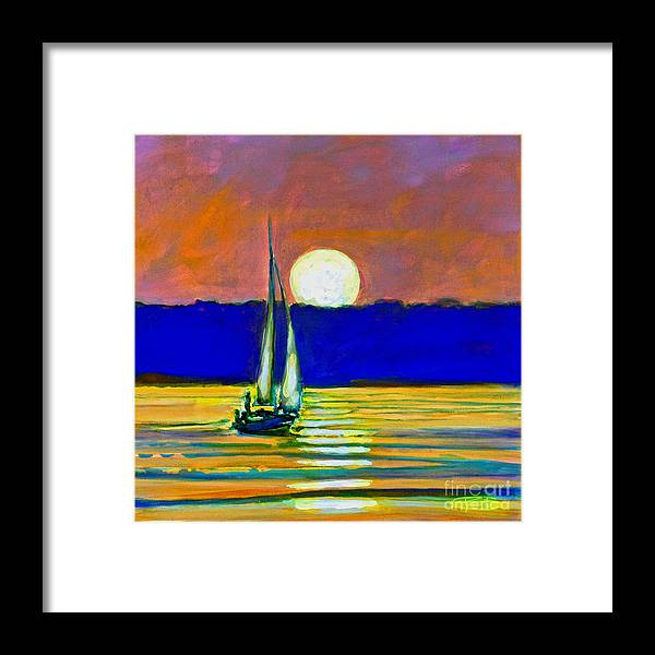 Sailboat Painting Framed Print featuring the painting Sailboat With Moonlight by Kip Decker