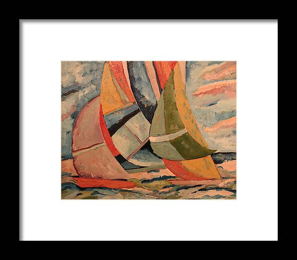 Framed Print featuring the painting Sailboats by Biagio Civale