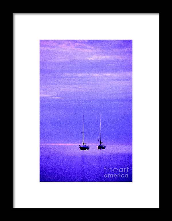 Sailboats Framed Print featuring the photograph Sailboats In Blue by Timothy Johnson