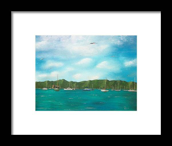 Seascapes Framed Print featuring the painting Sailboats In Harbor by Tony Rodriguez