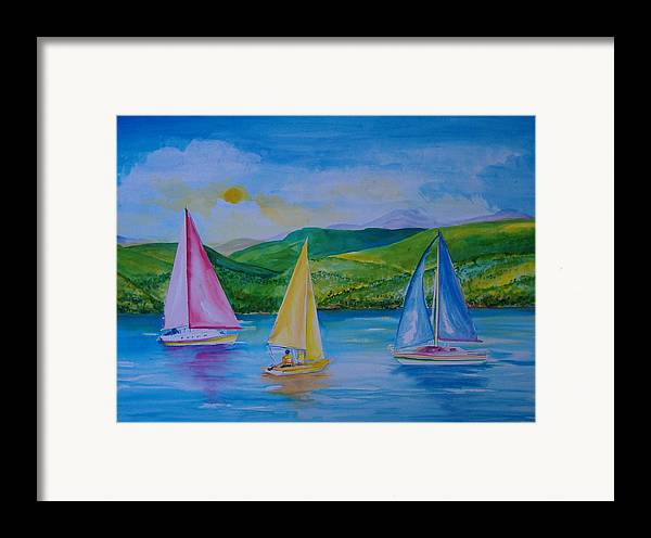 Sailboats Framed Print featuring the painting Sailboats by Laura Rispoli