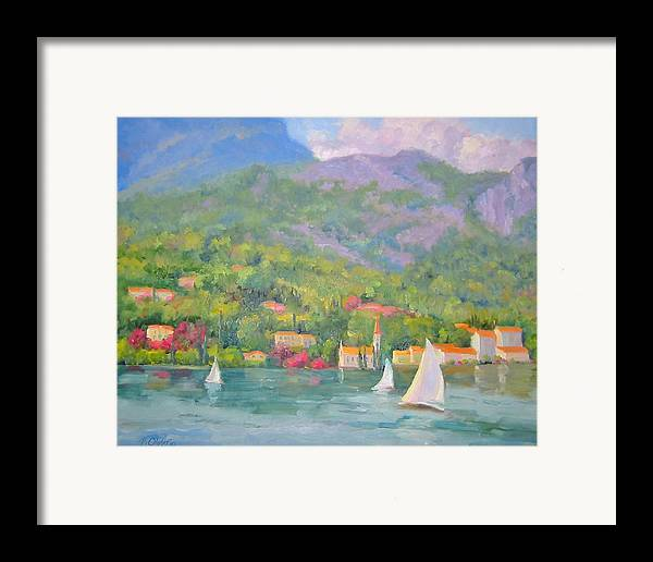 Seascape Framed Print featuring the painting Sailing - Lake Como by Bunny Oliver