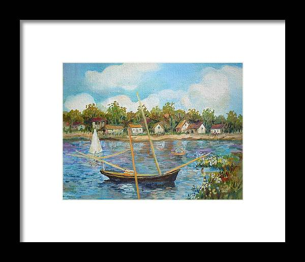 Sailing Framed Print featuring the painting Sailing 1 by Min Wang