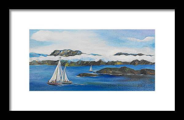 Sailing Framed Print featuring the painting Sailing 2 by Min Wang