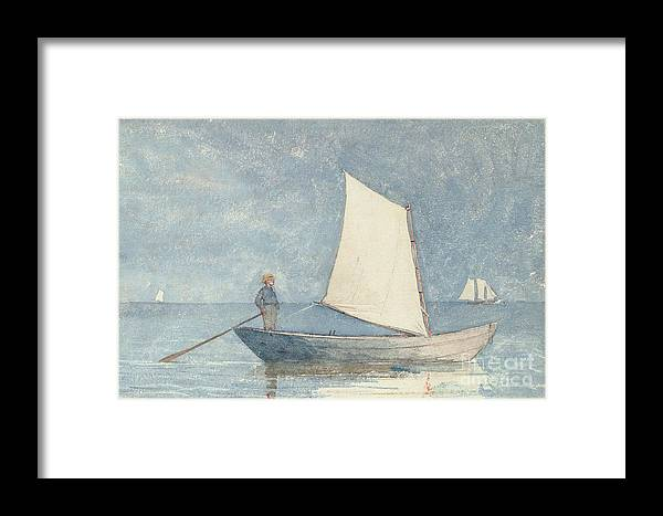 Boat Framed Print featuring the painting Sailing A Dory by Winslow Homer