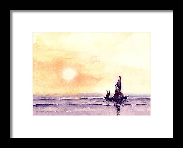 Nature Framed Print featuring the painting Sailing by Anil Nene