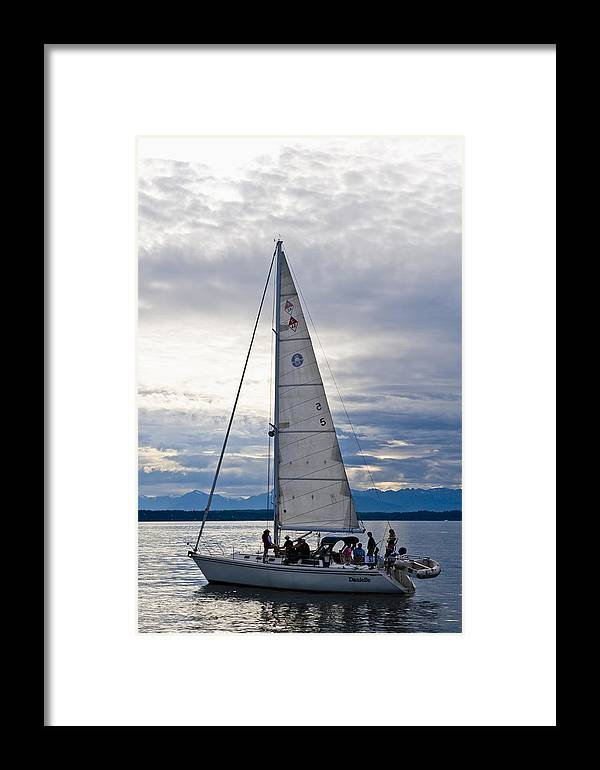 Seattle Framed Print featuring the photograph Sailing At Dusk by Tom Dowd