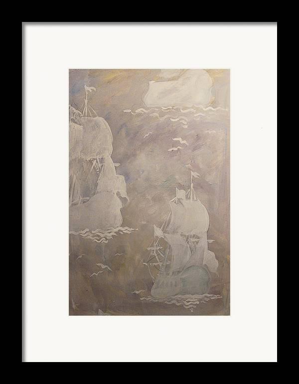 Ship Framed Print featuring the drawing Sailing Away by Kseniya Nelasova