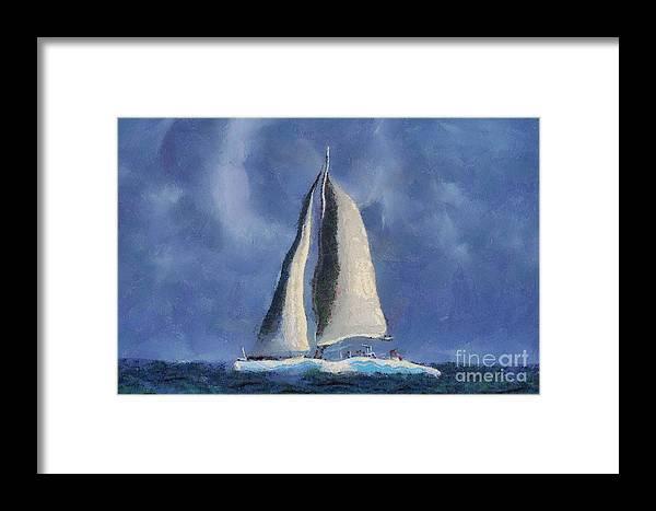 Sail Framed Print featuring the digital art Sailing Away by Teresa Zieba