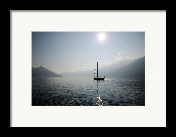 Horizontal Framed Print featuring the photograph Sailing Boat In Alpine Lake by Mats Silvan