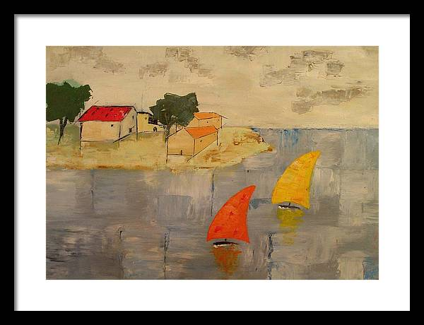 House Framed Print featuring the painting Sailing-boats by Anthony Meton