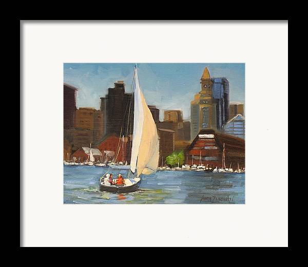 Oil Painting Framed Print featuring the painting Sailing Boston Harbor by Laura Lee Zanghetti