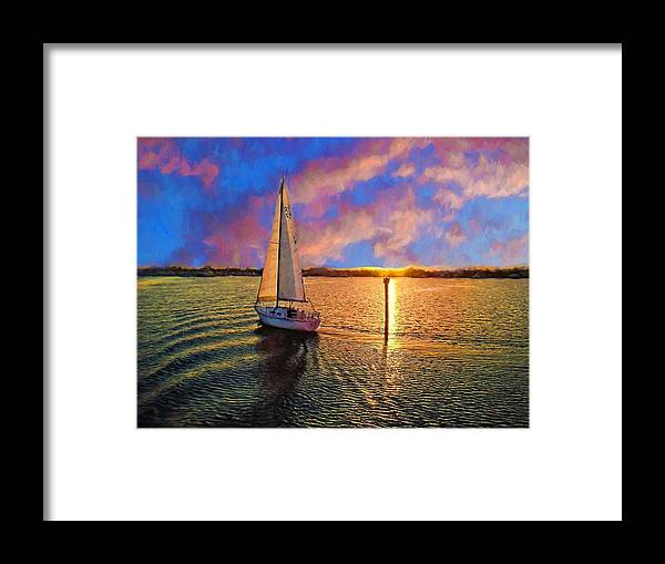 Alicegipsonphotographs Framed Print featuring the photograph Sailing Into The Sunset by Alice Gipson