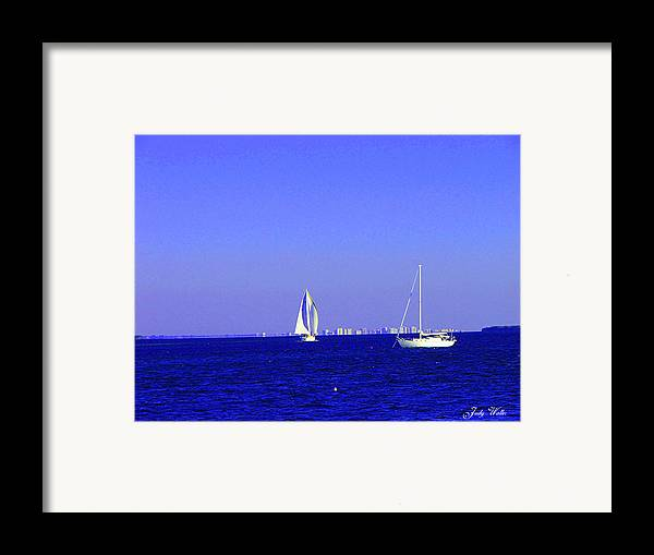 Sailboats Framed Print featuring the photograph Sailing by Judy Waller