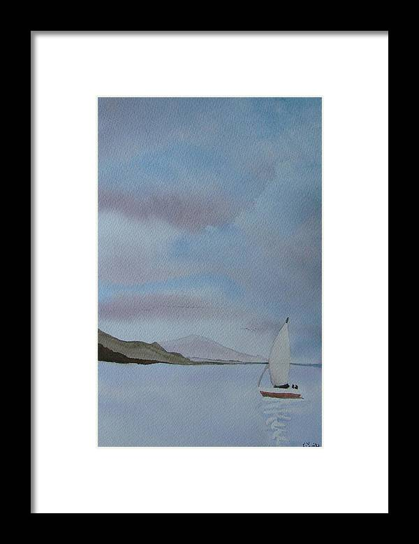 Sailboat Framed Print featuring the painting Sailing by Liz Vernand