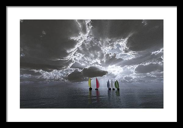 Clouds Framed Print featuring the digital art Sailing by Margaret Wingstedt