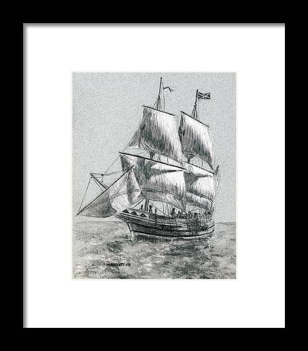 Seascape Framed Print featuring the drawing Sailing by Michael Beckett