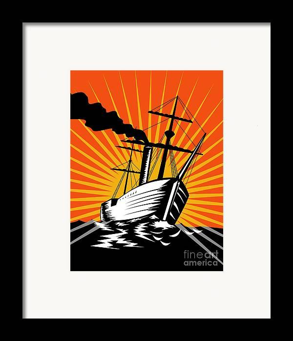 Sailing Ship Framed Print featuring the digital art Sailing Ship Retro Woodcut by Aloysius Patrimonio