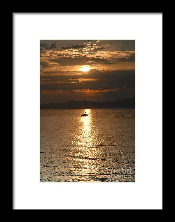Great Salt Lake Framed Print featuring the photograph Sailing The Great Salt Lake At Sunset by Dennis Hammer