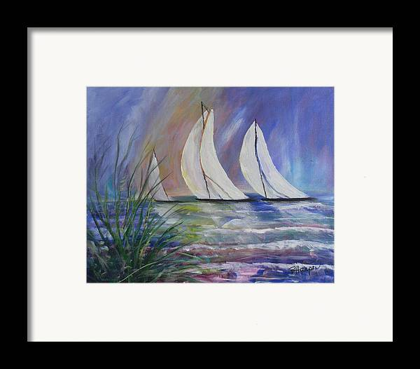 Sailing Framed Print featuring the painting Sailing The Windy Sea by Barbara Harper