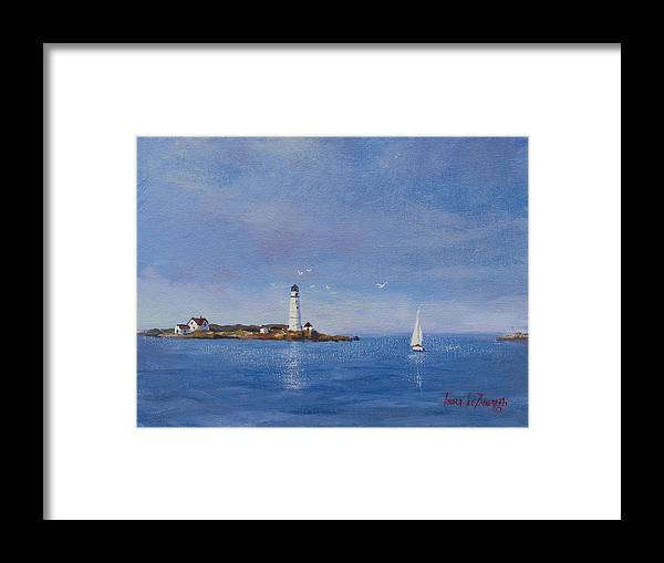 Seascape Framed Print featuring the painting Sailing To Boston Light by Laura Lee Zanghetti