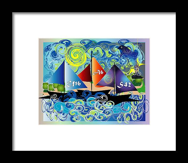 Lake Framed Print featuring the digital art Sailing With Dolphins by George Pasini