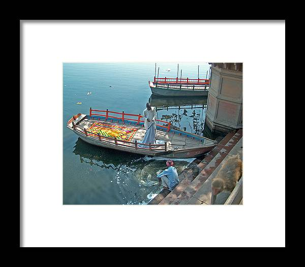 Old Boat. India Framed Print featuring the photograph Sailor And His Boat by Dorota Nowak