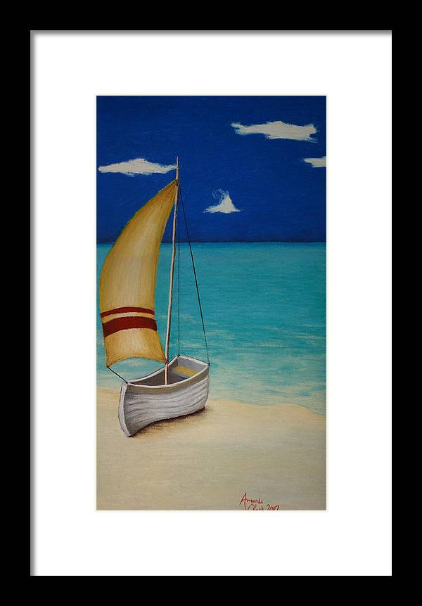 Boat Framed Print featuring the pastel Sailors Solitude by Amanda Clark