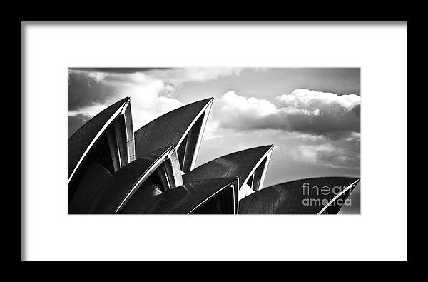 Sydney Opera House Monochrome Black And White Icon Framed Print featuring the photograph Sails Of Sydney Opera House by Sheila Smart Fine Art Photography