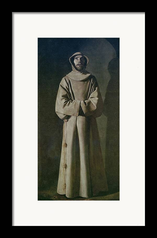 Francis Framed Print featuring the painting Saint Francis by Francisco de Zurbaran