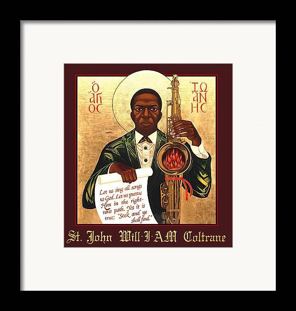 Saint John Coltrane. Black Christ Religion Framed Print featuring the painting Saint John The Divine Sound Baptist by Mark Dukes