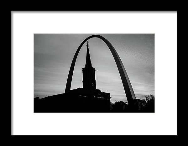 America Framed Print featuring the photograph Saint Louis Skyline Silhouettes - Black And White - Usa by Gregory Ballos