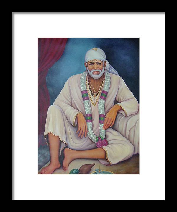 Saint Sai Baba, Shirdi Sai Baba, Portrait,online Art Gallery, Oil Painting  On Canvas  Framed Print