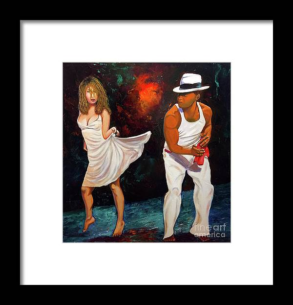 Dancing Cuba Painting Salsa Woman Framed Print featuring the painting Salsa 2 by Jose Manuel Abraham