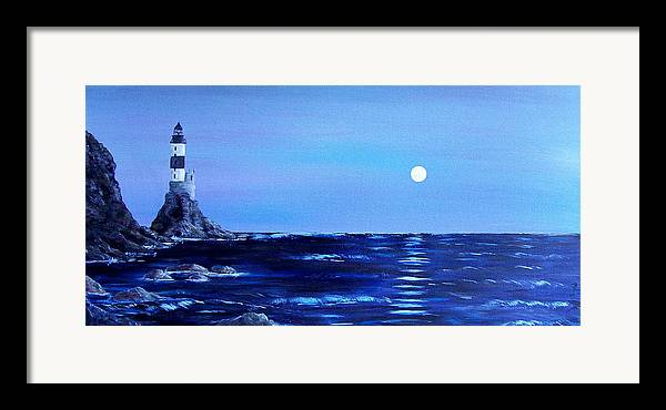 Seascape Framed Print featuring the painting Sakhalin Lighthouse by Tony Rodriguez