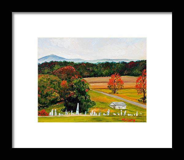 Landscape Framed Print featuring the painting Salem Cemetery In October by Hilary England