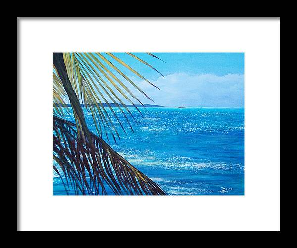 Seascape Framed Print featuring the painting Salinas Seascape by Tony Rodriguez