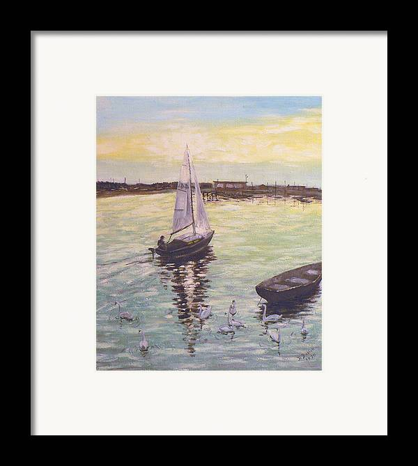Sailboat Framed Print featuring the painting Saling Home At Sunset by Dan Bozich