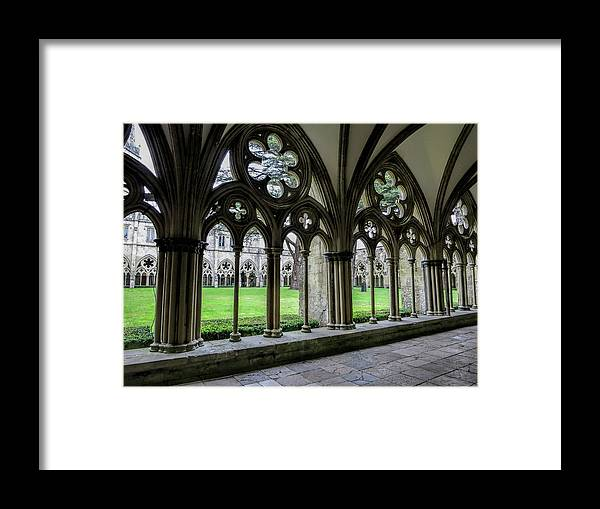 Salisbury Framed Print featuring the photograph Salisbury Cathedral Cloisters by Phyllis Taylor