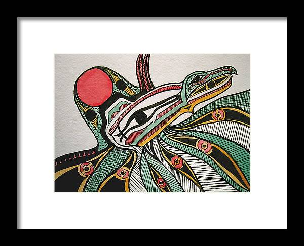 Orignial Artwork Framed Print featuring the painting Salishan Style Raven by K Hoover