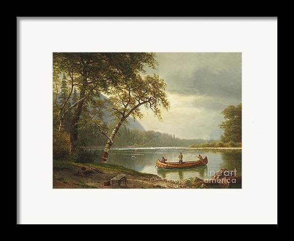 Landscape; Rural; Countryside; Canadian; Fishermen; Boat; Leisure; Calm; Peaceful; Kayak; Camp; Campfire; Fire; Kettle; Scenic; Riverbank Framed Print featuring the painting Salmon Fishing On The Caspapediac River by Albert Bierstadt