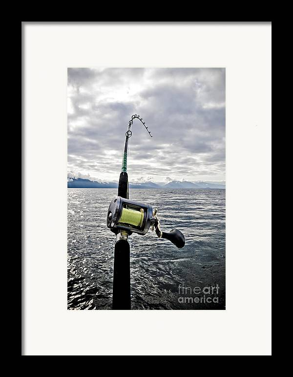 Abstract Framed Print featuring the photograph Salmon Fishing Rod by Darcy Michaelchuk