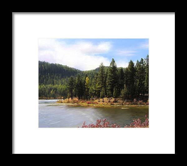 Salmon Lake Framed Print featuring the painting Salmon Lake Montana by Susan Kinney