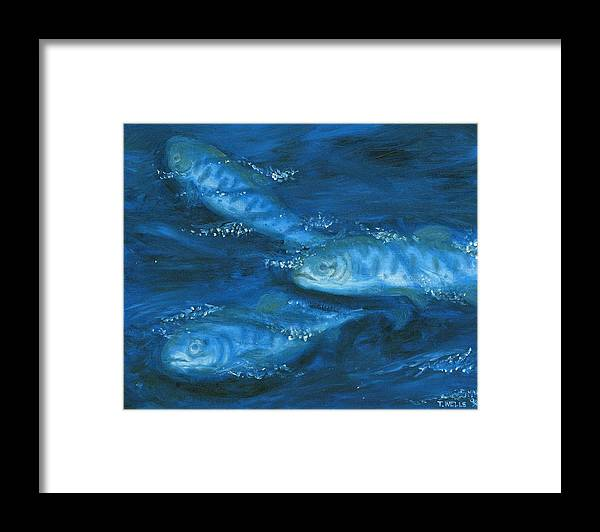 Salmon Swimming Framed Print featuring the painting Salmon Swimming by Tanna Lee M Wells