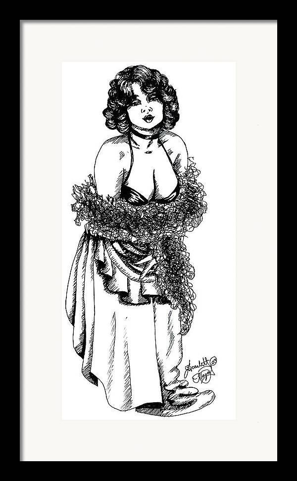 Woman Framed Print featuring the drawing Saloon Girl by Scarlett Royal