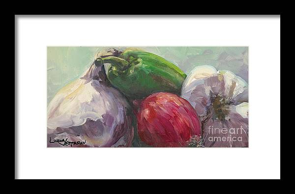 Vegetable Framed Print featuring the painting Salsa by Linda Vespasian
