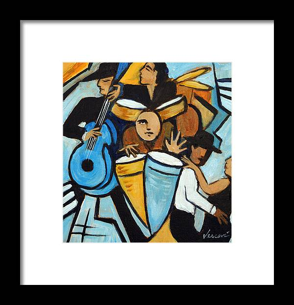 Cubist Salsa Dancers Framed Print featuring the painting Salsa Night by Valerie Vescovi