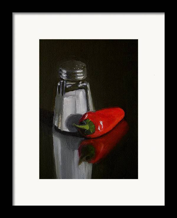 Still Life Framed Print featuring the painting Salt And Pepper by Becky Alden